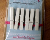 Mini Clothespins - (6) SHABBY WHITE Wood Pins