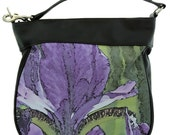 LEATHER HOBO HANDBAG - Shown in Purple Iris Image Design.