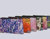 SUNGLASS BAG-FLORAL. Shown-Lavender Bouquet, Flame, Pink Wildflowers, Pink Lilies, Pink Splash, Purple Tulip.