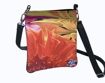 CROSSBODY BAG -  Small handbag - Floral Abstract Photography - Women's Handbag.  Flame Design Image.