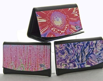 SLIM LEATHER WALLET - Women's Accessories -  Floral - Abstract Photography -Shown in Pink Wildflowers, Extreme Brick, Lavender Bouquet.