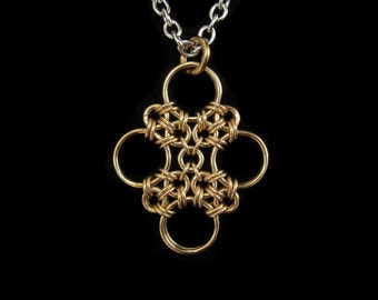 Brass Japanese Cross Chainmaille Pendant