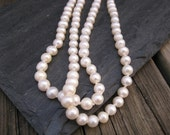 Natural White AA Round Pearl Necklace