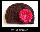 Brown Bella Beanie with Jeweled Hot Pink Flower. Size SMALL