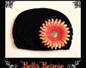 PERFECT FOR HALLOWEEN Black Bella Beanie with Orange Gerbera Daisy Clip Size SMALL, MEDIUM or LARGE