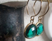 Emerald Faceted Glass Drop Earrings