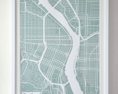 Silk-Screen Printed Map of Portland in Mint