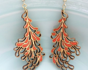 Large Red Blossom Earrings