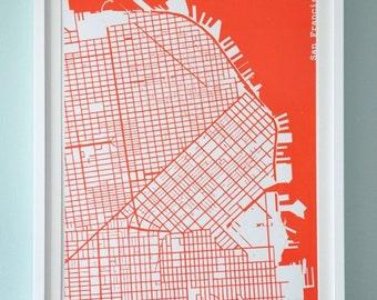Red Silk-Screen Printed Map of San Francisco