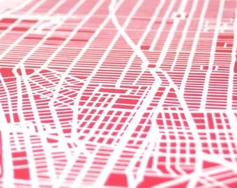 Pink Silk-Screen Printed Map of NYC