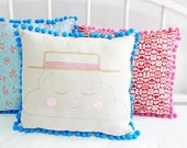 Cloud Cushion with Pom Poms - Boater