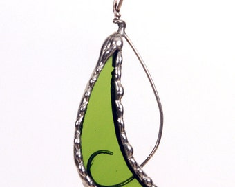Green Glass and Wire Pendant from Recycled Wine Bottle