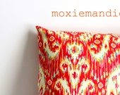 Persimmon Ikat Pillow Cover // 18 x 18 inch pillow cover