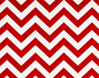 SALE - Premier Prints Fabric Zig Zag Chevron in Red and White Twill - Fat Quarter