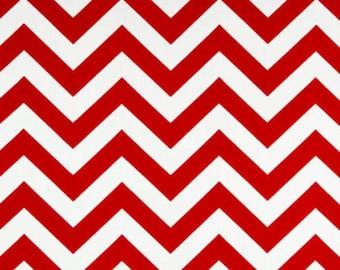 SALE - Premier Prints Fabric Zig Zag Chevron in Red and White Twill - Half Yard