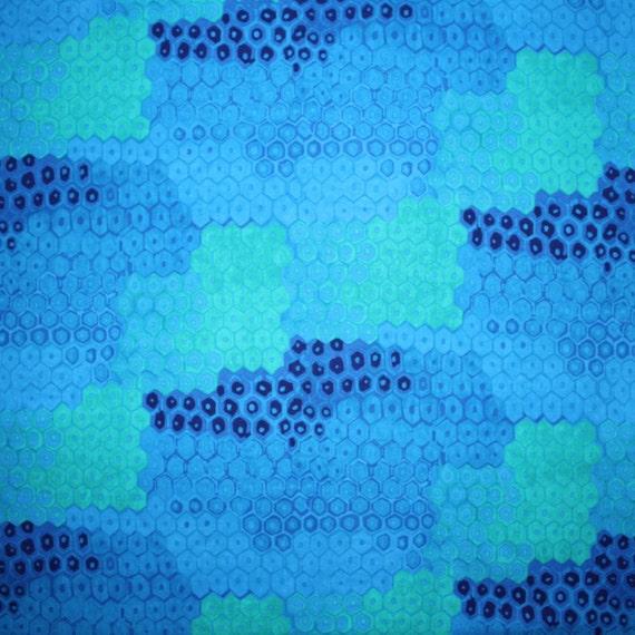 SALE - Alexander Henry Rainforest Honeycomb in Blue - Half Yard