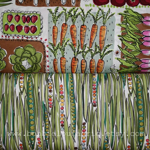 Alexander Henry Growing Green Set - Growing Green and Green Bean in Natural Brite - Fat Quarter of Each (half yard total)