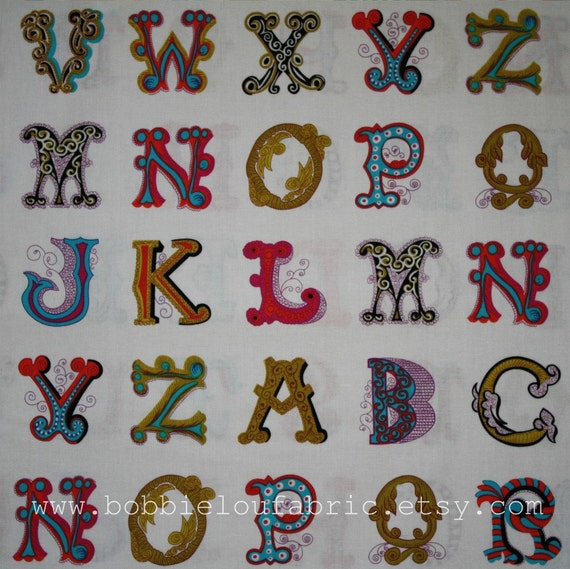 SALE - Michael Miller Font Tastic in Berry - 2 Yards