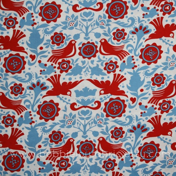 Alexander Henry La Paloma in Blue Red - 2 Yards