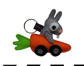 Mr Bunny in his Carrot Car Keychain - Grommt