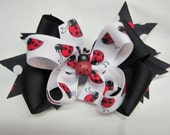 Double Layer Lady Bug Boutique Hair Bow
