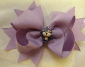 Purple Monkey Around Boutique Style Hair Bow, birthday hair bow, cheerbow, lavendar bow, purple hair bow, clips, large stacked bow