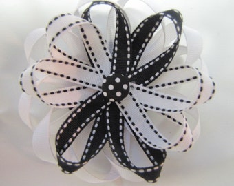 Black and White Ribbon FLower Clip with Fabric Button
