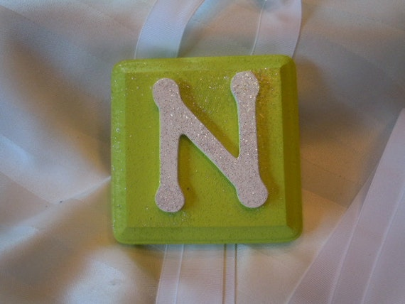"""CUSTOM ORDERS - White """"N"""" on a Lime Green Little Block Bow Holder with White Ribbon"""