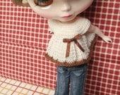 CROCHET TOP FOR BLYTHE - BEIGE AND BROWN