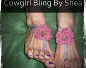 lavender barefoot sandals with flowers, foot jewelry, anklet