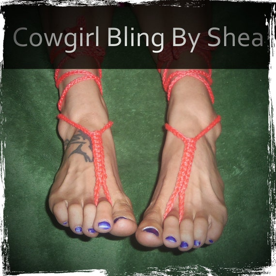 Coral barefoot sandals, foot jewelry, anklet