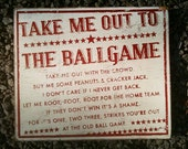 Take Me Out to the Ballgame Rustic Wooden Sign 20x23