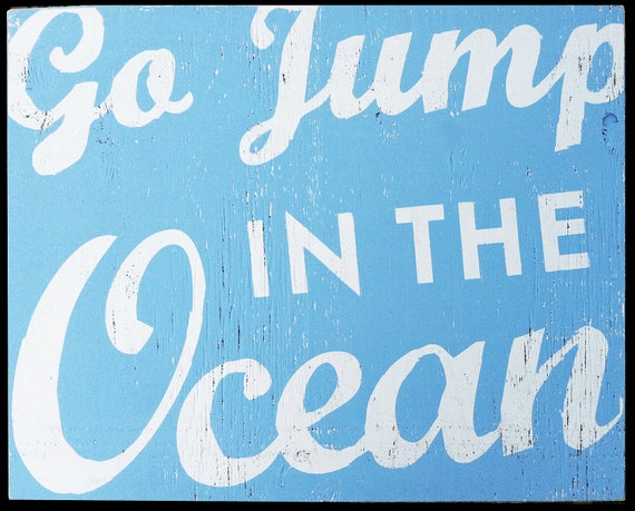 Large Oversized Go Jump in the Ocean Script 26x33