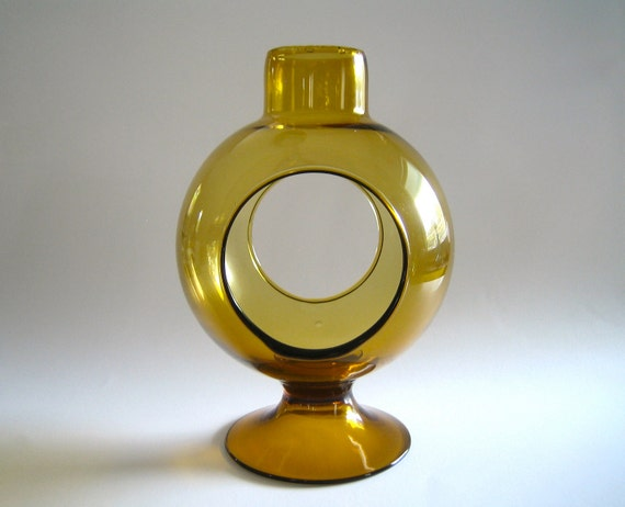 Large Space Age Art Glass Candle Holder in Amber