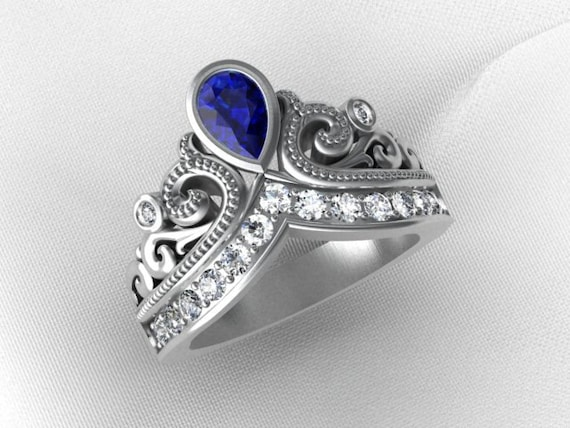 Sterling Silver Tiara/Crown Ring with Iolite and white topaz