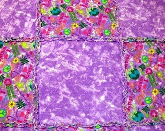 Baby Shaggy Rag Quilt - Purple Flower Power Recycle Save the Earth