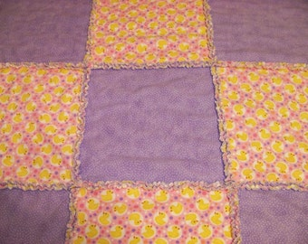 Baby Shaggy Rag Quilt - Cute Duckies and Dots
