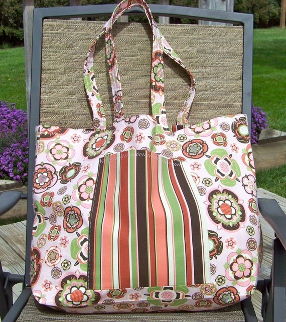Market Tote - Extra Large - Peachy Flowers and Stripes