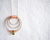 SALE Leather & Brass necklace with Sterling SIlver chain - Coral Peach - Doppler