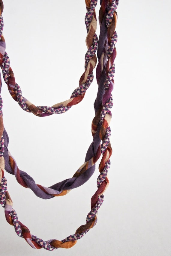 3 strands braided fabric necklace - purple and rust