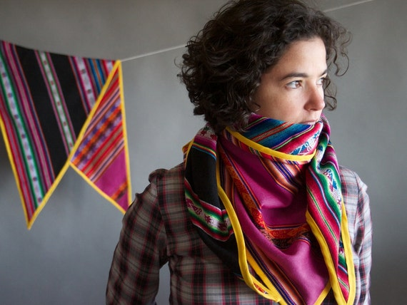 Inca triangle scarf- multicolor neo folk wrap in black and honeysuckle pink