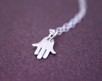 Tiny Hand of Hamsa Necklace Sterling Silver