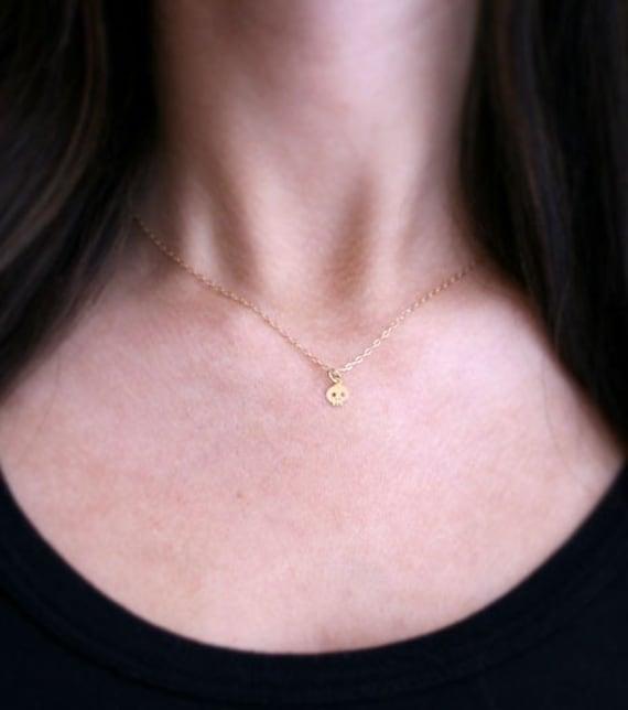 Teeny Tiny Gold Skull Necklace