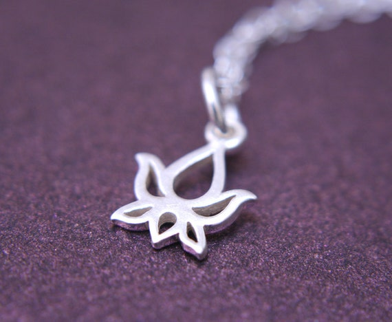 Tiny Lotus Flower Necklace Sterling Silver