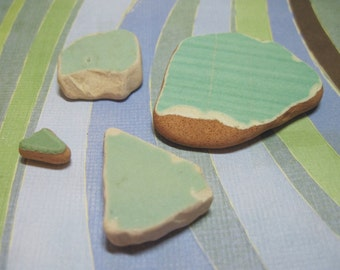 4 Authentic Green AMALFI Coast Pottery Chards from Italy for mosaics 268