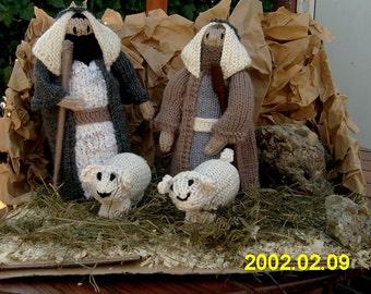 Hand knitted nativity, Shepherds & sheep