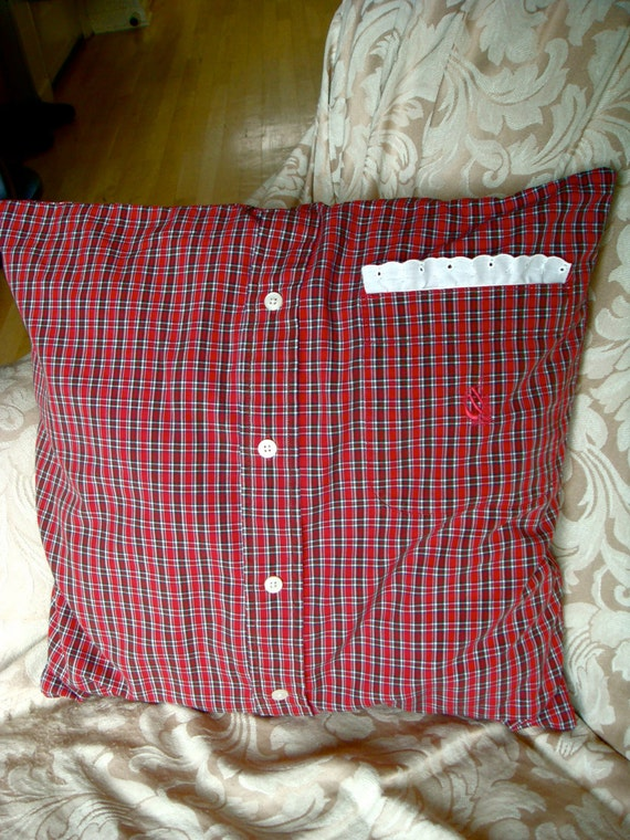 Eco-Friendly Pillow Cover in Red Plaid Men's Shirt  by ecokaren