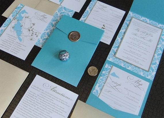 Damask Wedding Invitation -- Elegant Damask Pocketfold Invites, Gold Wax Seal, Gold + Turquoise, Lily