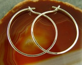 Sterling Silver Hoop Earrings/ Large Silver  Hoops / Simple Chic Jewelry / Whisper Light / Minimalist Jewelry