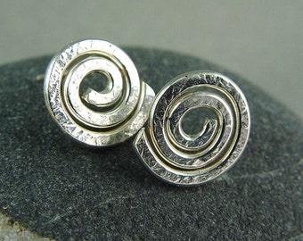 Silver Sacred Spiral Earrings / Post Earrings / Sacred Spiral / Minimalist Jewelry